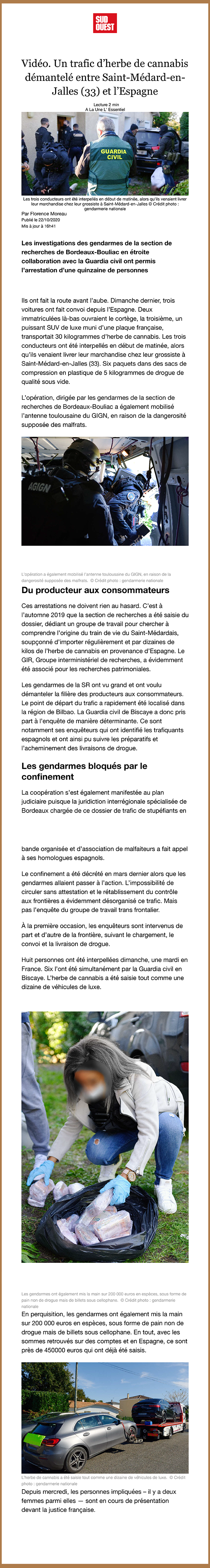 Trafic de stupéfiants démantelés à Saint-Médard-en-Jalles