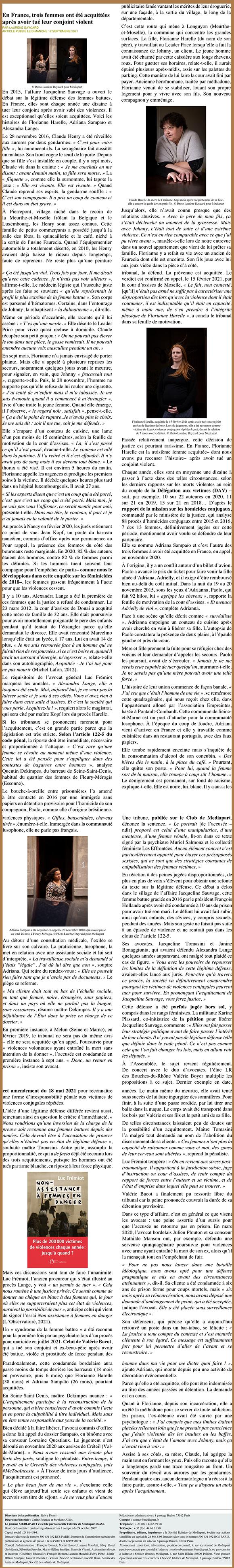 Article Mediapart sur les violences conjugales - Cabinet Julien Plouton