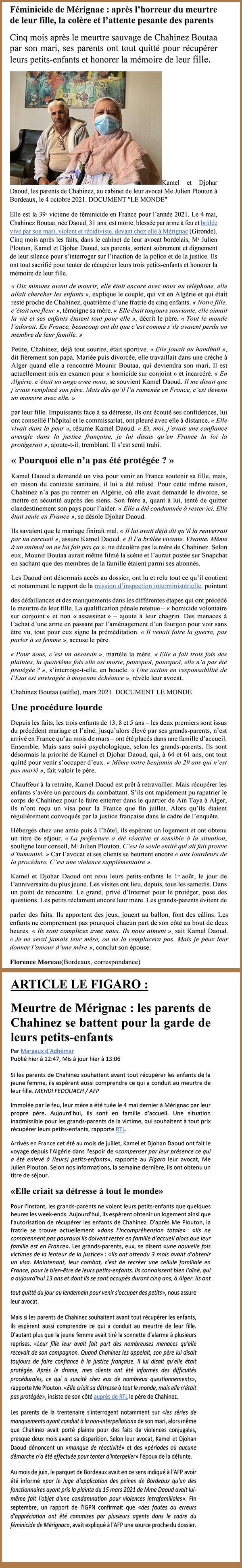 Article féminicide Mérignac - Cabinet J Plouton